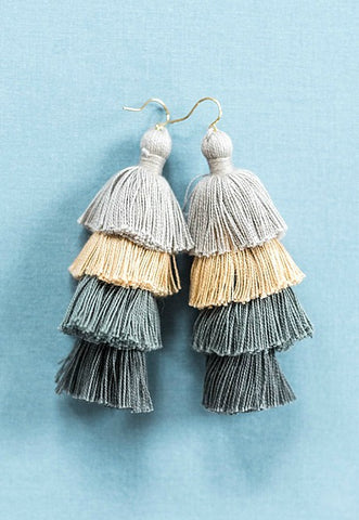 Large tassel earrings, greyscale gray beige neutral tassel earrings, tiered tassels, multilayer tassel earrings, summer jewelry by J'Adorn Designs jewelry, Baltimore MD custom jeweler