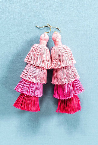 Large tassel earrings, pink ombre tassel earrings, tiered tassels, multilayer tassel earrings, summer jewelry by J'Adorn Designs jewelry, Baltimore MD custom jeweler
