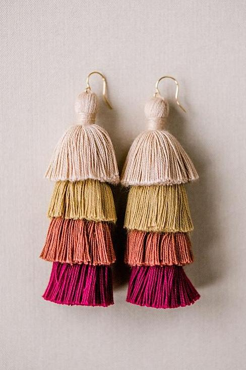 Red neutral tiered tassel earrings, winter tassel earrings, high quality tassel jewelry, summer jewelry trends, gemstone tassel earrings, by J'Adorn Designs custom jewelry made in Baltimore Maryland
