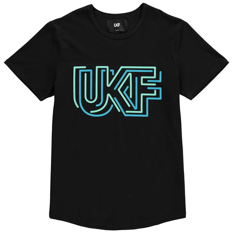 front of UKF neon tee in black