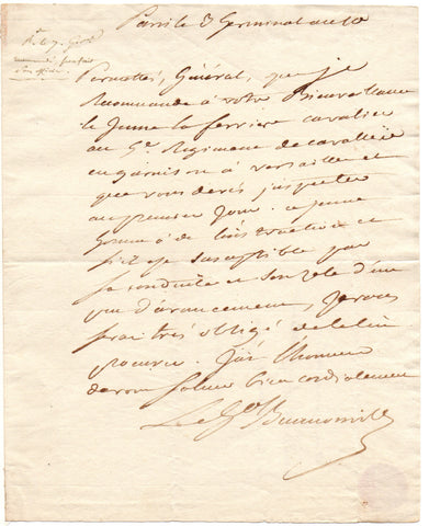 BEURNONVILLE Marquis de - Autograph Letter Signed 1802 recommending a young officer