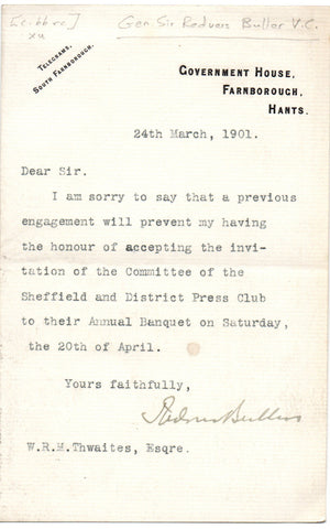 BULLER Sir Redvers - Typed Letter Signed 1901