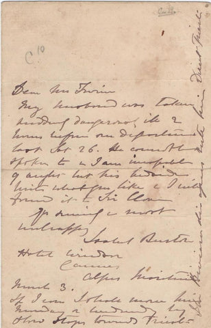 BURTON Isabel - Autograph Letter Signed 1887, when her husband lay 'dangerously ill'
