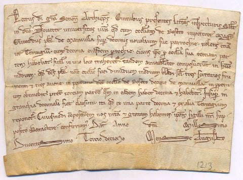 de CORBEIL Peter - Document in his name, August 1213