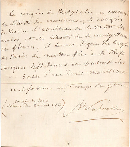 WALEWSKI Alexandre - Autograph Sentiment Signed by Napoleon's son at the end of the Crimean War 1856