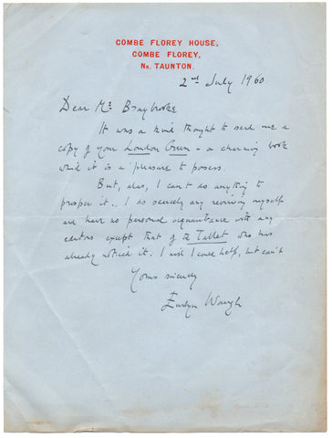 WAUGH Evelyn - Autograph Letter Signed 1960 regretting he cannot review a book