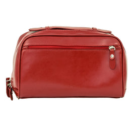 The Fonda - Red Leather Ladies Cosmetic Case - Blaxton