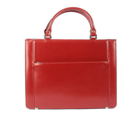 The Pearle 14 Inch Genuine Red Leather Ladies Briefcase Style Handbag
