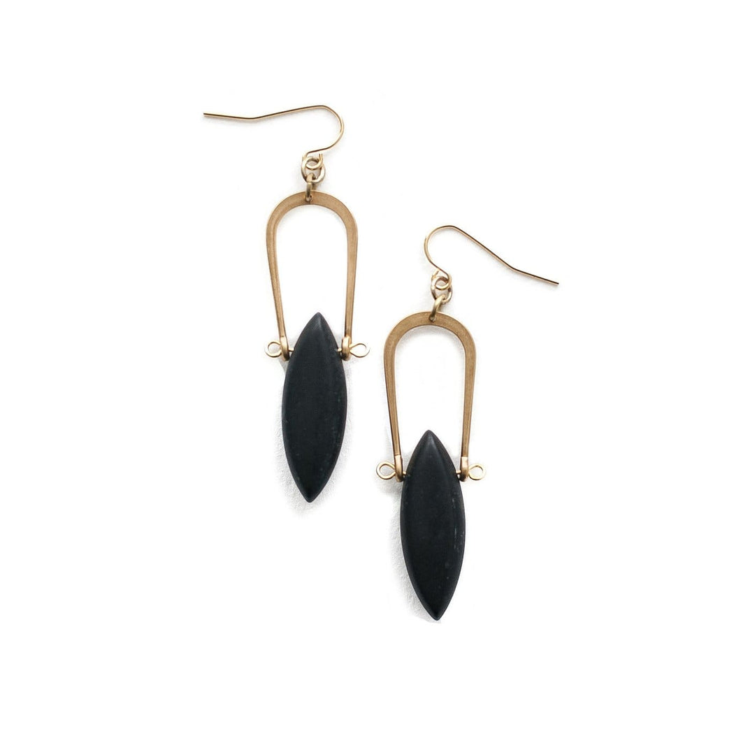 Amulet Earrings / Matte Black Jasper - Michelle Starbuck Designs