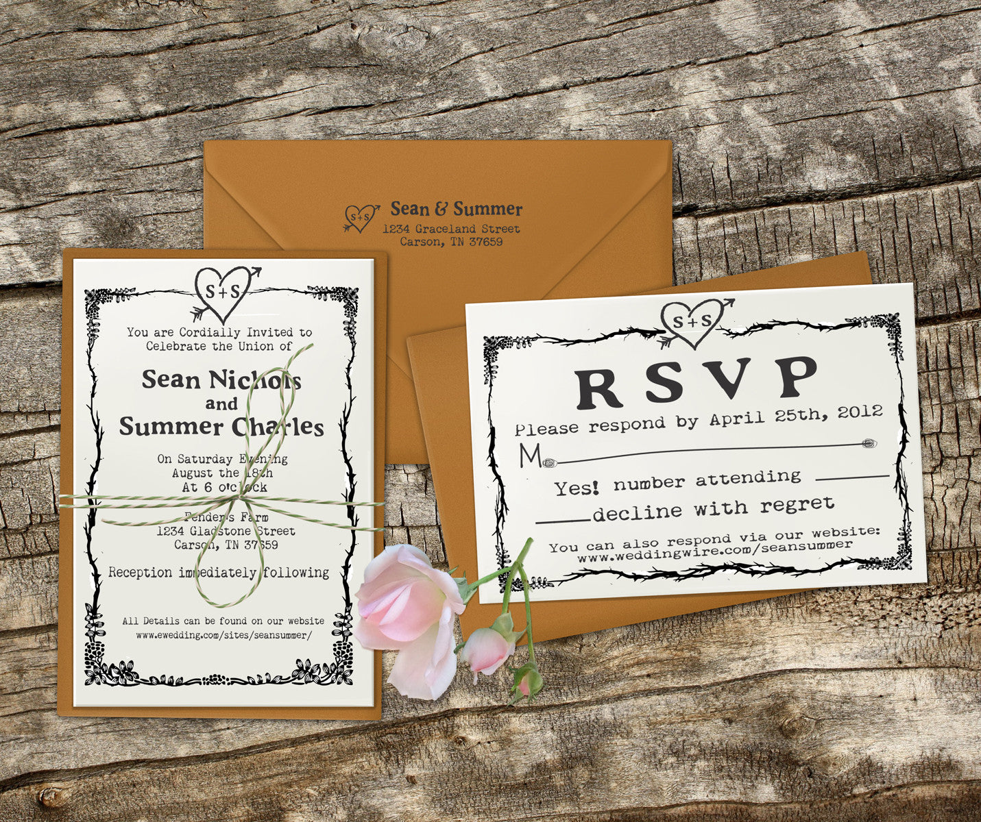 "Stamps For Wedding Invitations: Wedding Invitation Stamp Set ""Rustic Heart Sean & Summer"