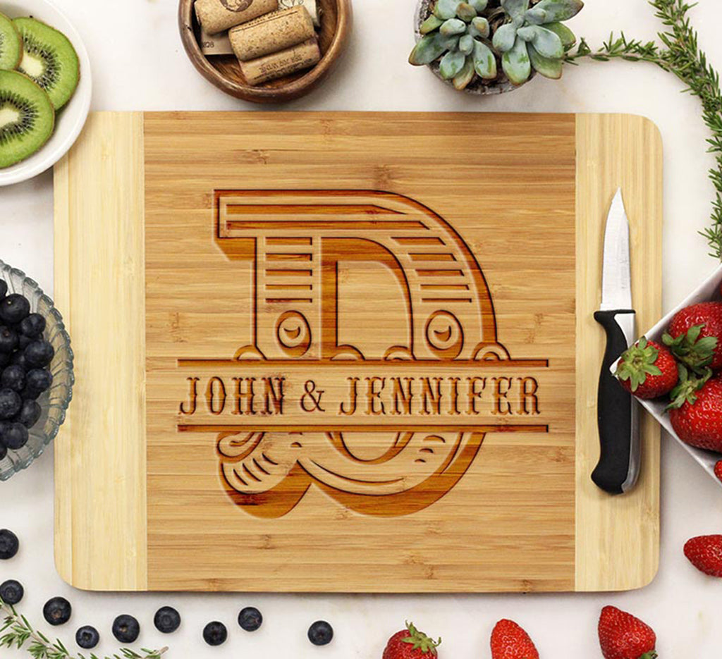 "Cutting Board ""Bold Initial & Names"""