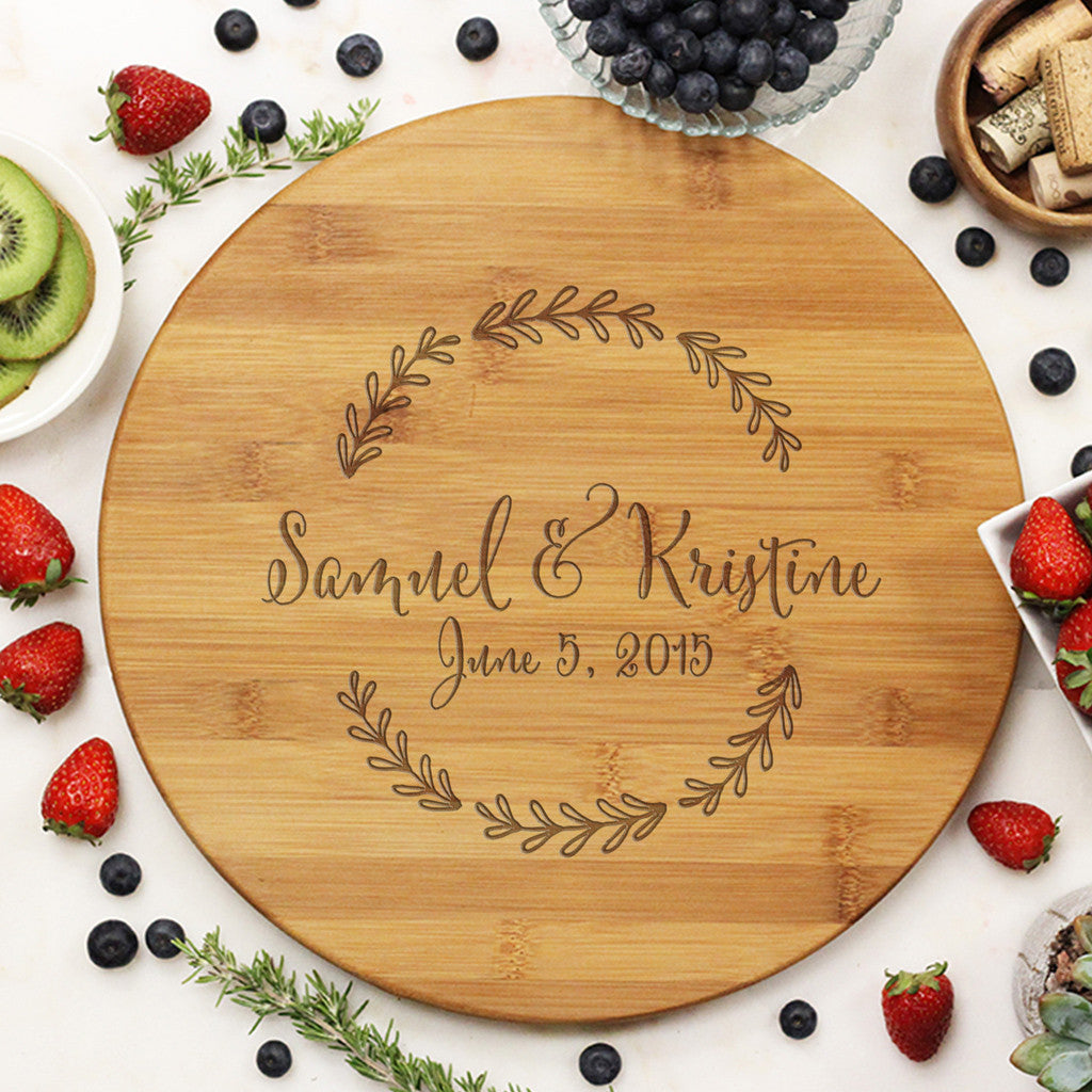 Round Cutting Board With Names And Established Date