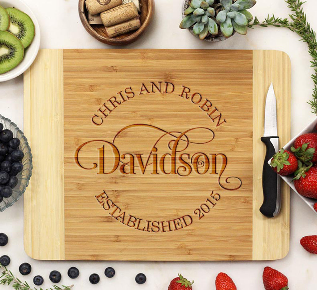 Swirly Last Name Personalized Cutting Board