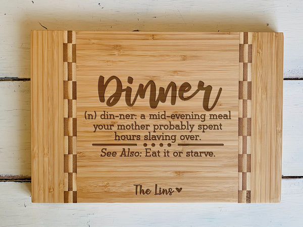 "Custom Farmhouse Cutting Board ""The Lins"""