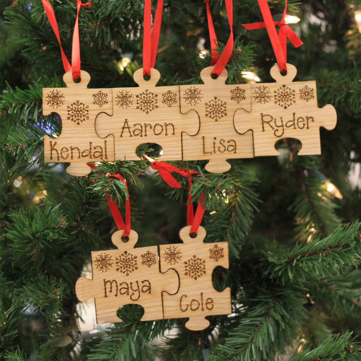Personalized Engraved Wood Ornament Quot Family Name Puzzle