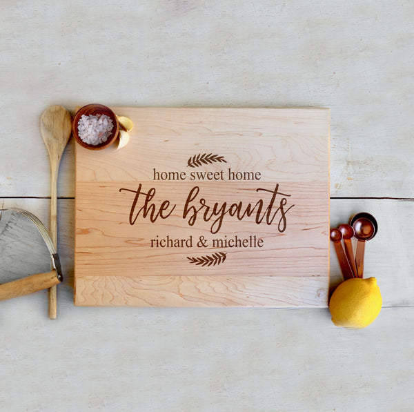 "Custom Maple Cutting Board ""The Bryants"" Home Sweet Home"