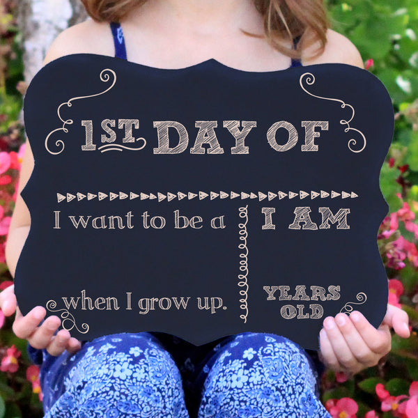 Write Name In First Day Of School Chalkboard Sign