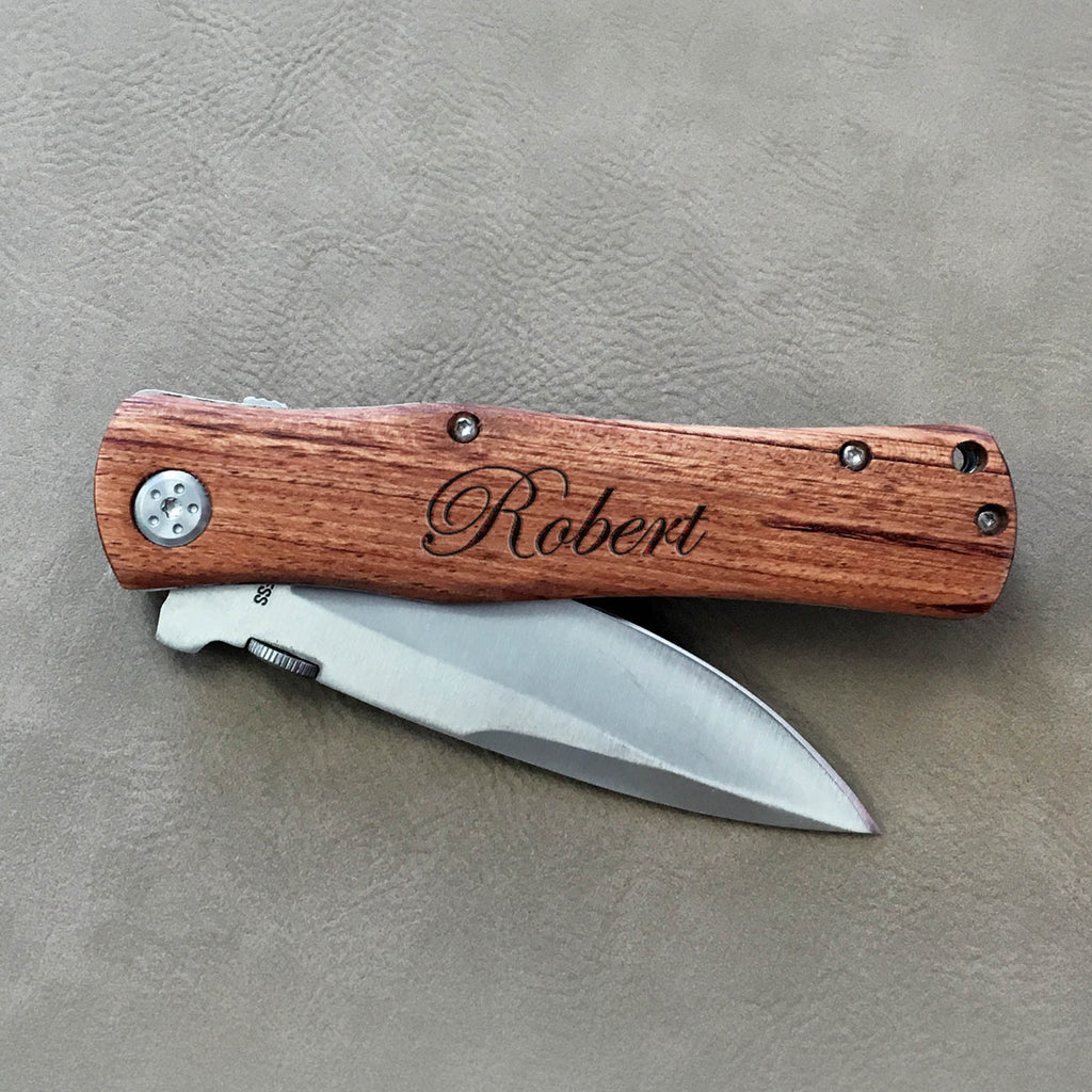 "Personalized Father's Day Engraved Wood Pocket Knife - ""Robert Script Font"""