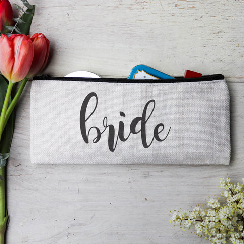 "Personalized Makeup Bag, Custom Coin Purse, Bridesmaid Gifts ""Bride"""