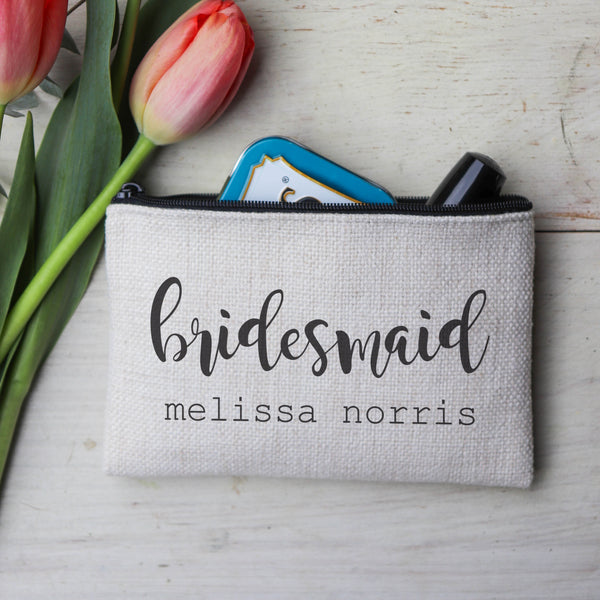 "Personalized Makeup Bag, Custom Coin Purse, Bridesmaid Gifts ""Bridemaid"""