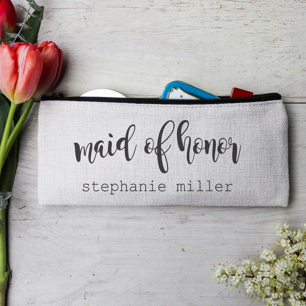 "Personalized Makeup Bag, Custom Coin Purse, Bridesmaid Gifts ""Maid of Honor"""