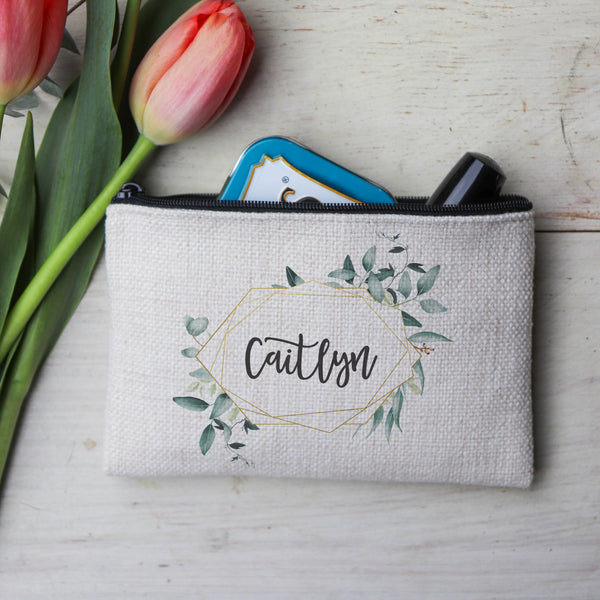 "Personalized Makeup Bag, Custom Coin Purse, Bridesmaid Gifts ""Caitlyn"""