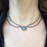 Druzy and Pyrite Collar Necklace, Necklaces - Luna Lili Jewelry