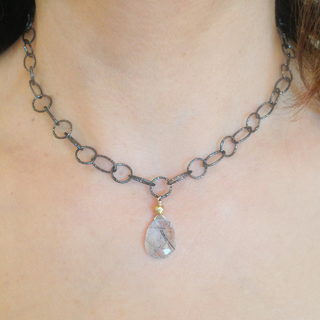 Rutile Tear Drop Necklace, Necklaces - Luna Lili Jewelry