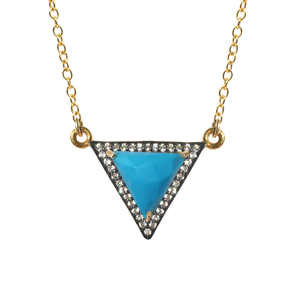 White Topaz  Howlite Turquoise Triangle Necklace, Necklaces - Luna Lili Jewelry