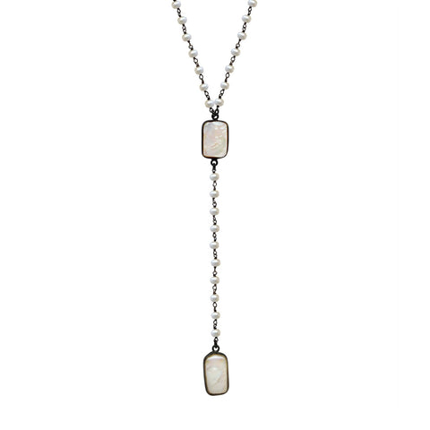 White Topaz  Howlite Turquoise Triangle Necklace