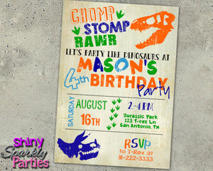 Dinosaur Birthday Invitation, Digital Download, Printable File, customized party Invitation - Forever Fab Boutique