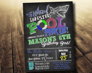 Shark Infested Pool Party Birthday Invitation, Digital Download, Printable File, customized party Invitation - Forever Fab Boutique