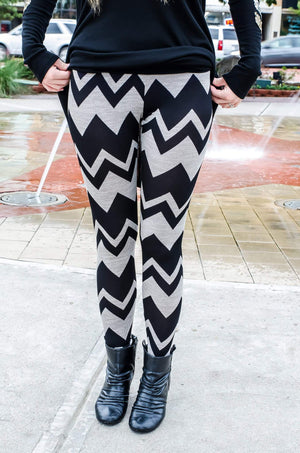Chevron Print Leggings Taupe Black-Bottom-Forever Fab Boutique