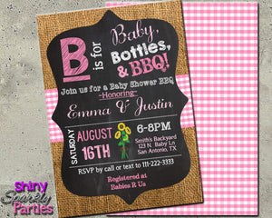 Custom Baby Girl Baby Shower Invitation - B is for Baby Shower Invite - Printable-Digital Download, Printable File, Invitation-Forever Fab Boutique