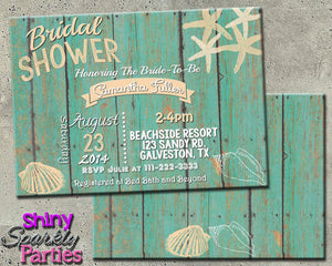 Printable Beach Themed Bridal Shower Invitation (Digital File Only)-Digital Download-Forever Fab Boutique