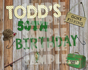Printable Fishing Birthday Party Sign (Digital File Only)-Digital Download-Forever Fab Boutique
