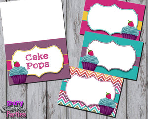 Printable Little Cupcake Food Tent Signs Editable (Digital File Only)-Forever Fab Boutique