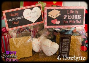 Printable S'mores Valentine Treat Bag Toppers (Digital File Only)-Forever Fab Boutique