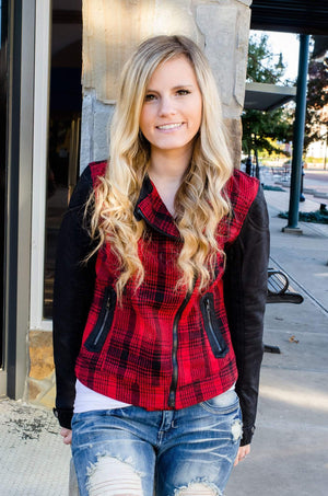 Rebel Without A Cause Plaid Moto Jacket-Outerwear-Forever Fab Boutique