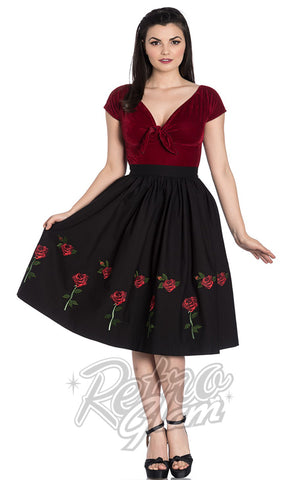 Hell Bunny Rosa Rossa 50s Skirt in Black