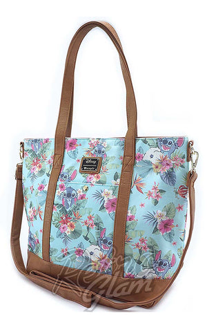 Loungefly Stitch Tropical Floral Print Tote front