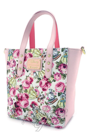 Loungefly The Beauty and the Beast Character Floral Print Tote Bag front