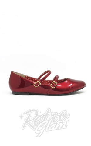 B.A.I.T Sinclair Shoes in Red Glass Patent retro