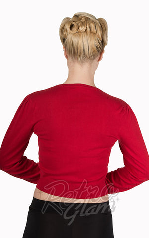Banned red Little Luxury Cropped Cardigan with gathered sleeves back