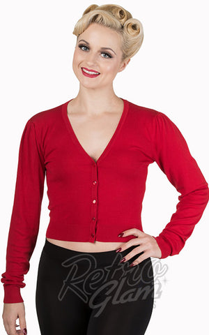 Banned red Little Luxury Cropped Cardigan with gathered sleeves front