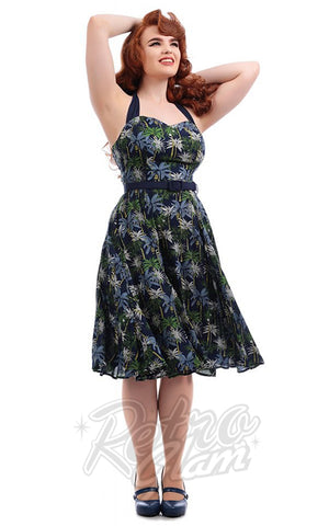Collectif Beth Palm Tree Print Swing Dress