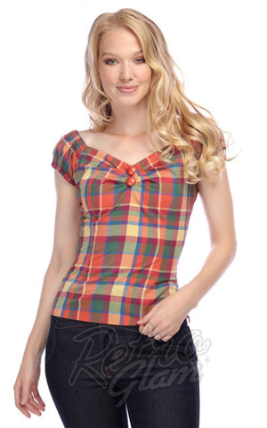Collectif Dolores Top in Rainbow Check