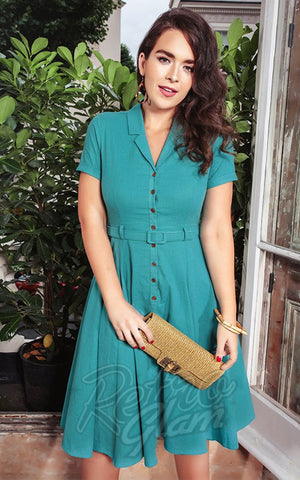 Collectif Caterina 50's Swing Dress in Teal Green model