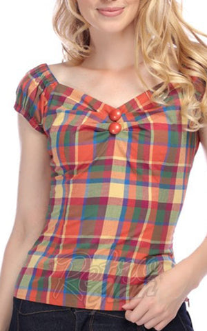 Collectif Dolores Top in Rainbow Check detail