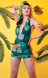 Collectif X Playful Promises Skirted Swimsuit in Green Palm Print